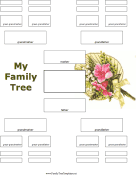 5 Generation Family Tree with Flowers