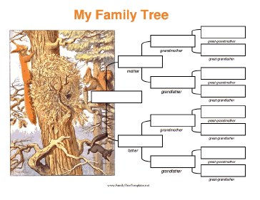 4 Generation Family Tree with Squirrels Template