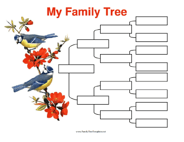 4 Generation Family Tree with Birds Template