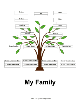 Generation Family Tree with Siblings Template