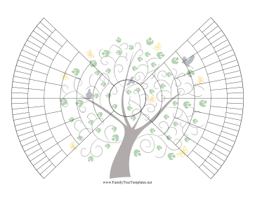 7-Generation Bowtie Family Tree With Graphic Template