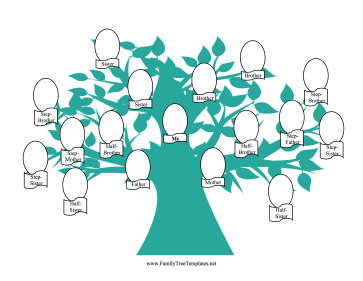 Blended Family Tree with Graphic Template