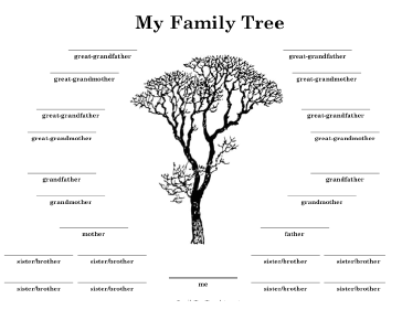 Family tree with many siblings template for Fill in the blank family tree template