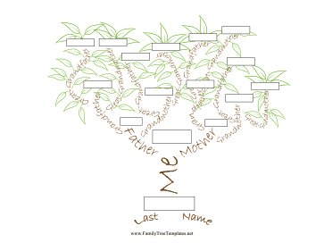 Illustrated Name Tree 5 Generation Template