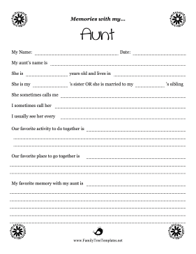 Memories With Aunt Worksheet Template