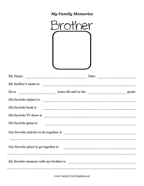 Memories With Brother Worksheet Template