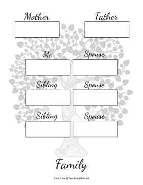 Two Generation Family Tree Two Siblings Spouses Template