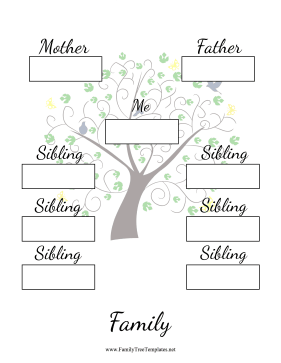 Two Generation Family Tree With Siblings Template