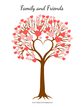 friendship tree template - wedding tree with heart leaves template