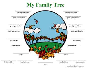 Family Tree with Lines in Color Template