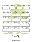 Two Generation Blended Family Tree family tree template