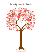 Wedding Tree With Heart Leaves family tree template